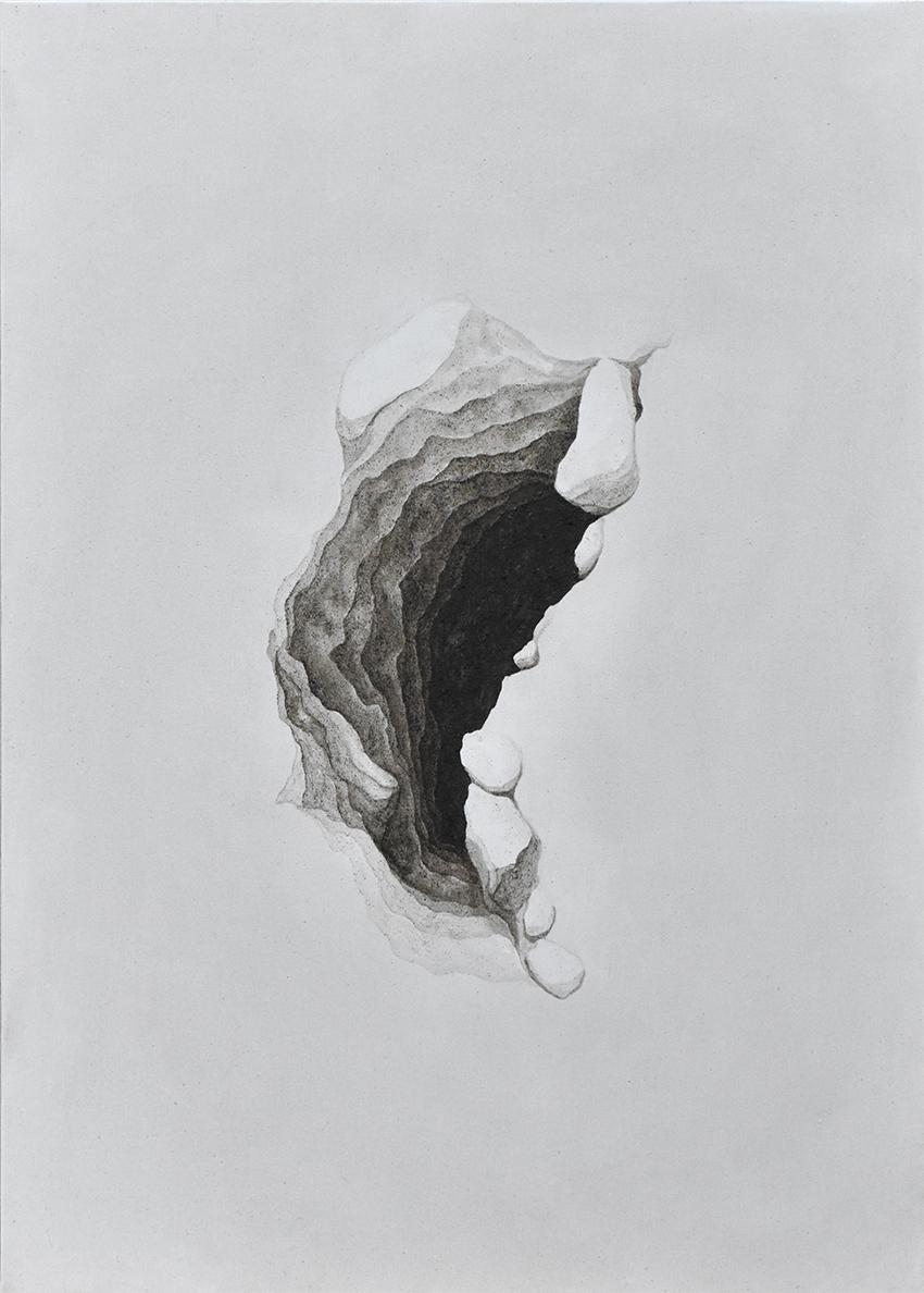 There's a World Going on Underground_Thomas Scalco - 'Htambà, 2019 - argillite di Lozio e legante acrilico su tela, 50x70 cm